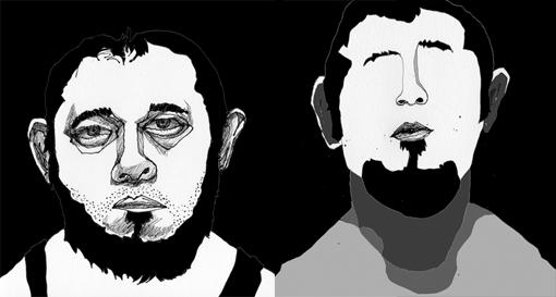 """""""2 Auto-Retratos del 20 Julio"""" - Dibujo-Plumón-Photoshop / San Salvador, ES Julio 2010"""
