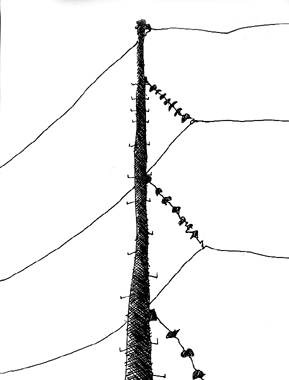 """""""Poste"""" - Plumón/Dibujo - Managua, Nicaragua 2006"""