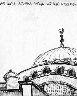 """Aya Sofya"" / Lapicero - Dibujo / Istambul, Turkya 2008"