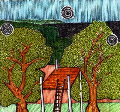 """""""Noche con mi Abuelo"""" / Plumón-Dibujo / El Salvador 1996"""