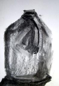 """""""Galón de Agua"""" - Carboncillo/ Dibujo - Alegría, El Salvador 2008"""
