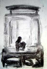 """""""Portagua"""" - Carboncillo/Dibujo - Alegría, El Salvador 2008"""