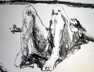 """""""Pao Acostada"""" - Carboncillo/Dibujo -Alegría, El Salvador 2008"""