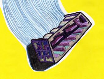 """""""Caja"""" - Dibujo - Lápiz de color, plumón, collage / Julio 2010 - Mejicanos, ES"""